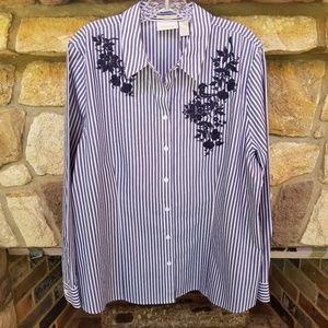 Chico's Shirt Non-iron Cotton Blue Stripe XL